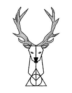 tattoo design by grant spanier harry potter x stag patronus x deathly hallows