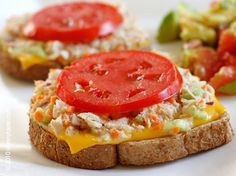 The Skinny Tuna Melt - Classic comfort diner food, just got a make-over... the low fat tuna melt. Adding veggies to your tuna, replacing the full fat cheese and mayonnaise with light mayo and cheese and serving it opened faced makes this classic sandwich lower in fat and Weight Watcher friendly. Use your favorite whole grain bread and serve with a salad or a cup of soup on the side. #80dishes