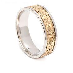 Irish Shield Ring with White Trim 6.6mm