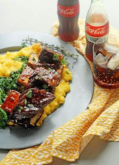Coke Braised Beef Short Ribs with a sticky sauce on plate with polenta and greens ready to serve Rib Recipes, Easy Dinner Recipes, Cooking Recipes, Healthy Recipes, Sunday Recipes, Entree Recipes, Cooking Ideas, Dinner Ideas, Healthy Food