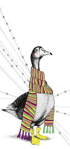 "Illustration ""Goose with scarf"" by Ellen Kirstine Hansen www.ellen-kirstine.dk"