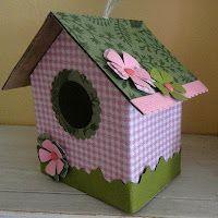Cardboard Birdhouse Bird Houses, Box, Outdoor Decor, Kids, Home Decor, Crates, Blue Prints, Young Children, Snare Drum