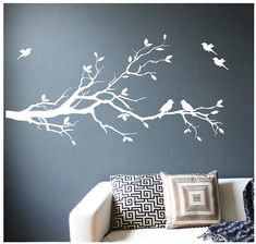 Large Tree Branch Wall Decal Deco Art Sticker Mural with 10 Birds Bedroom Wall Designs, Bedroom Murals, Wall Murals, Artwork Wall, Tree Artwork, Design Bedroom, Family Tree Mural, Tree Wall Painting, Bird Wall Decals
