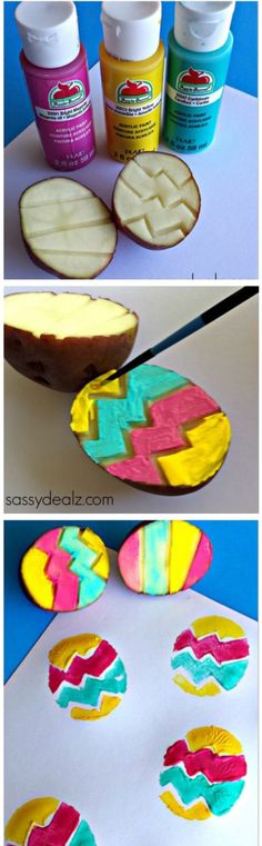 Easy potato stamps, this can also be done with an apple. Ask a parent to help cut out the lines, dip in paint and start stamping!