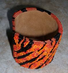 Tiger pattern bead embroidered cuff bracelet Out of Africa