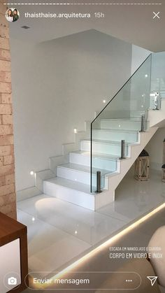 Home Stairs Design, Interior Staircase, Home Room Design, Modern House Design, Modern Stair Railing, Stair Railing Design, Modern Stairs, Glass Stair Railing, Style At Home