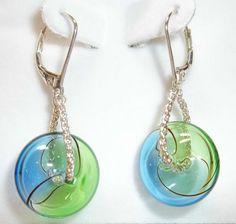 Hollow glass bead earrings