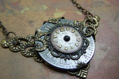 Steampunk Clock Necklace Vintage Watch Face Brass by ArtfulGoodies, $55.00
