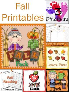 Round up of Fall Printables from 3 Dinosaurs