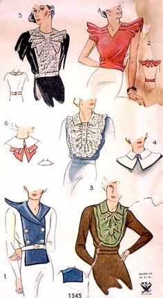1930s fashion collars SIMPLICITY Pattern #: 1545