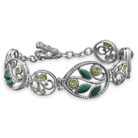 sterling silver graduated ornate toggle bracelet with malachite and peridot. The bracelet has graduated pear shape links with round links in between. Fashion Bracelets, Jewelry Bracelets, Fashion Jewelry, Jewellery, Bangles, Malachite Jewelry, Peridot, Bridal Jewelry, Sterling Silver Jewelry