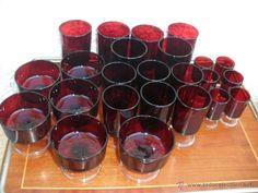 Gran lote de cristalería años 70 roja-copas champan Arcoroc