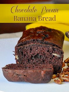Double Chocolate Pecan Banana Bread. This modern chocolate banana bread ups the delicious ante with chocolate chips and crunchy pecans in a version of the classic loaf cake that everyone loves. #oldfashioned #baking
