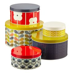 So pretty but 54.00 for set!! Find tins and cover with scrap book papers!! Mod podge/ Our eye-catching Orla Kiely Round Cake Tins will help you cultivate a retro look!
