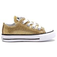 818facd05df609 Kids Sparkly Glitter Converse All Stars low Bling Sneakers Shoes Pale Gold