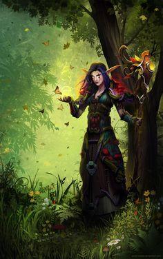 Druid Magic by Nath. World Of Warcraft Druid, Art Warcraft, World Of Warcraft Characters, Fantasy Characters, Epic Characters, Character Portraits, Character Art, Character Ideas, Character Design