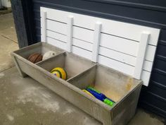 Old concrete wash tub... fitted with a lift off lid for storage and use as a bench!