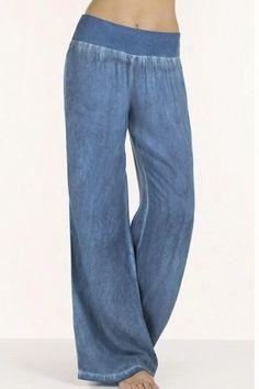 Celmia 2018 Pantalon High Waist Palazzo Pants Women Waist Wide Leg Pants Denim Blue Jeans Women Elegant Trouser Plus Size Pantalon High Waist, Trousers Women, Pants For Women, Jeans Women, Diy Vetement, Wide Leg Denim, Wide Legs, Washed Denim, Plus Size Jeans