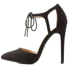 Charlotte Russe Two-Piece Lace-Up Pointed Toe Heels ($33) ❤ liked on Polyvore featuring shoes, pumps, black, pointed-toe pumps, black stilettos, lace up pumps, black stiletto pumps and black pointy toe pumps
