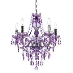 fun purple chandelier for gracelyns room