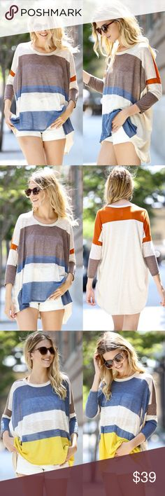 CHARLIE 3/4 sleeve color block top - TAUPE/BLUE Super comfy & loose fit color block top with 3/4 quarter sleeves. Also available in BLUE/MUSTARD. NO TRADE, PRICE FIRM Bellanblue Tops