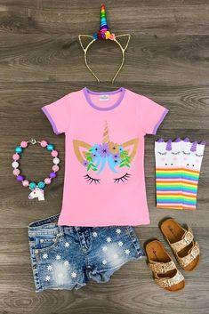Pink Unicorn Face T-Shirt