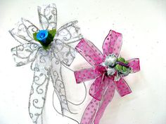 Small gift wrap bows with mini rose buds and green by jandavis2, $6.50