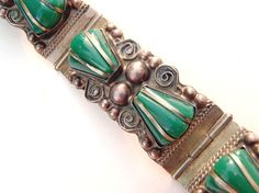Vintage Mexican Sterling Silver and Green Stones by AstrasShadow