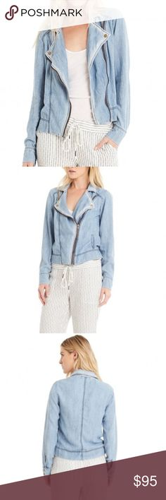 Michael Stars Denim Moto Bomber Jacket NWT Brand new with tags. Linen Denim Tencel Moto Bomber Blazer Jacket with collar, buttons, zipper closure and pockets. On sale on the website now for $138. Light weight jacket so perfect for spring, summer, or fall Michael Stars Jackets & Coats
