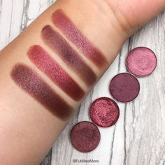 Makeup Geek Shimmery Burgundies Comparison and swatches