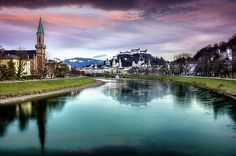 The Magic of Salzburg by Carol Japp Shadow Silhouette, Salzburg Austria, Sound Of Music, Old Town, Rivers, Silhouettes, Castles, Places To Travel, Shadows