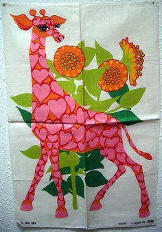Oxfam Giraffe tea towel by Belinda Lyon.