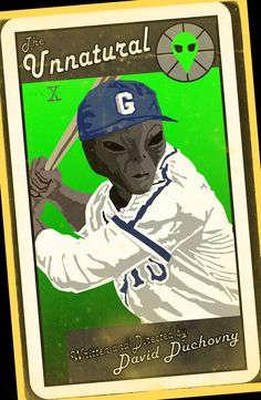 The Unnatural - Episode 136. Most of this episode takes place in 1947 and features an alien who is posing as a black man in Roswell, New Mexico playing in the Negro Leagues. I took a look at a sampling of baseball cards from the late 1940's and borrowed some of their esthetics to create this design.
