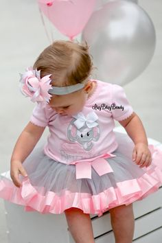 Baby girls pink grey chevron elephant first birthday outfit
