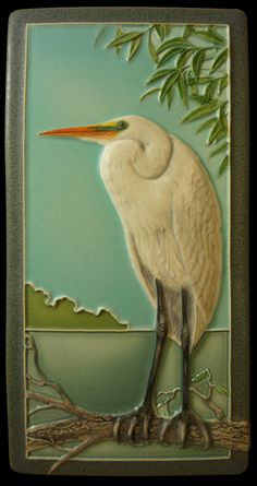 "Art tile ""Egret's Mate"" Ceramic tile sculpture animal art by MedicineBluffStudio  4 x 8 inches"