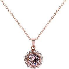 Ted Baker Sela Crystal Daisy Pendant Necklace , Rose Gold/Rose ($49) ❤ liked on Polyvore featuring jewelry, necklaces, rose gold necklace, vintage chain necklace, vintage pendant, chain pendants and adjustable necklace