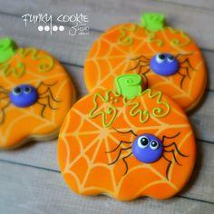 Purple Spiders on Orange Pumpkin Cookies Halloween Cookies Decorated, Halloween Sugar Cookies, Halloween Baking, Halloween Goodies, Halloween Desserts, Halloween Cakes, Halloween Treats, Decorated Cookies, Fall Cookies