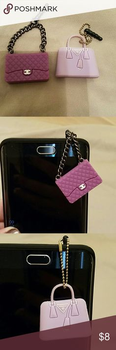 purse dust plug protectors Adorable little phone dust protectors purple and purple to look close ones of Prada and one Chanel 2 for 8.00 Accessories Phone Cases