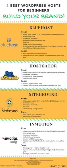 585bfea926 Best WordPress hosts for beginners! Build your blog or website the right  way!  savebly  blog  website  work  beginner  grind  blogger  infographic    ...