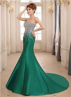 Fantastic Mermaid Strapless Beading Chapel Train Lace-up Evening Dress