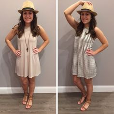 These two new shift dresses are FLYING out the door! The high-neck and perfect fit are a great combo! ONLY - $29 Hurry before they're gone! #shiftdress #newarrival #ootd #favorite #shoplocal #thegivingkeys #restocked #springfashion #nude #stripes #apricotlanedesmoines #apricotlane #shopalb