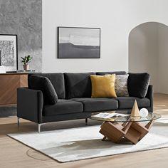 Table Decor Living Room, Living Room Sets, Home Living Room, Black Sofa Decor, Classic Living Room, Modern Living, Black And White Living Room, Dark Couch, Gray Sofa