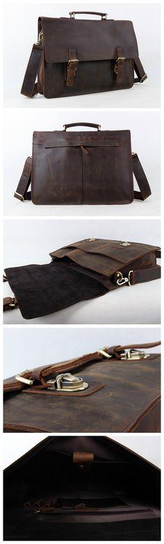 """Cool Men Tote Genuine leather Dark Brown Shoulder Bag Messenger 15""""Laptop Briefcase Model Number: 7035B-1 Dimensions: 15.3""""L x 3.5""""W x 11.8""""H / 39cm(L) x 9cm(W) x 30cm(H) Weight: 3.3lb / 1.5kg Hardwar"""