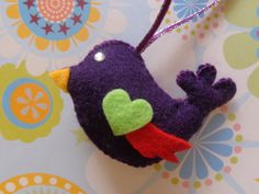 Amethyst Bird Ornament by Pepperland on Etsy, $6.00
