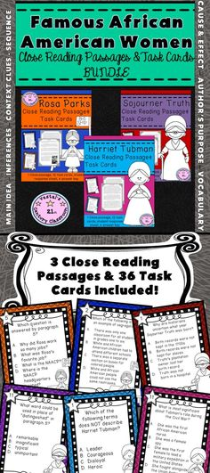 Incorporate literacy skills and social studies using this bundle! Famous African American Women Close Reading Passages & Task Cards are perfect to use during Black History Month or just for test prep! Review skills such as main idea and supporting details, cause and effect, context clues, author's purpose, making inferences, vocabulary, character traits, and sequence while learning about the legacies of Rosa Parks, Harriet Tubman, and Sojourner Truth. Includes 3 passages and 36 task cards!