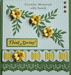Sandy here. I created a beautiful card to celebrate Spring. #cheeryld #shulsart Dies used: Ribbon Eyelet Border w/Piercing - B122; Stitcher Plate Large Parallel Rectangle/Square - PS107; Anastasia Border - B136; Olive Branches - B147; Miniature Rose - B152; Japanese Lace Pattern - FRM120 http://www.cheerylynndesigns.com