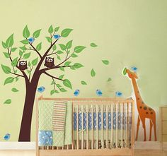 Giraffe Owl Birds Tree Fit Baby Room Nature Vinyl Wall Decal Art Sticker Q38-1