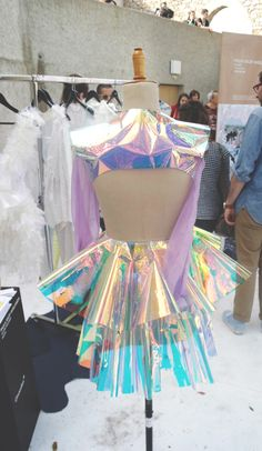 Design by Paula Selby Avellaneda. Space Fashion, Fashion Show, Fashion Outfits, Womens Fashion, Fashion Design, Stage Outfits, Cool Outfits, Holographic Fashion, Rave Wear