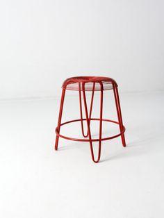 Mitte des Jahrhunderts Draht Hocker rot Metall Hocker von 86home