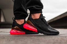 The Nike Air Max 270 Hot Punch (Style Code: feature a Black upper highlighted with Hot Punch Air Max heel unit. A release date and pricing is Tenis Nike Air Max, Zapatillas Nike Air, Nike Air Max Mens, Moda Sneakers, Air Max Sneakers, Sneakers Nike, Mens Fashion Shoes, Sneakers Fashion, Cute Shoes